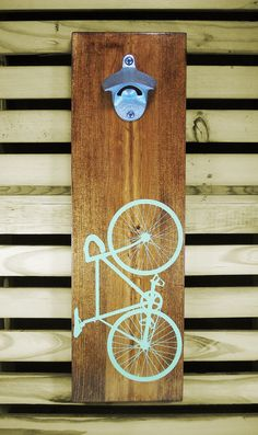 Wood Wall Mount Beer Bottle Opener Screen Printed Bicycle - 5th Anniversary Wood Gift