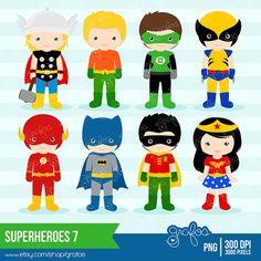 SUPERHEROES 7  Digital Clipart , Superheroes Clipart  / Instant Download