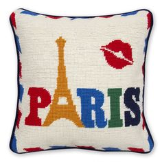 Add quirky style to your home with this Jet Set Paris cushion from Jonathan Adler. Handmade from 100% wool, this cushion features a fun Paris inspired design with Eiffel Tower & kiss print images, ...