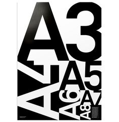 the 'A poster' by british studio purpose is a screen printed poster that illustrates international paper sizes.
