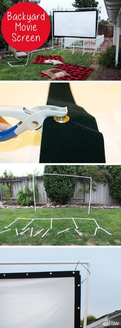 Watching a film under the stars adds a magical element to movie night. It's easy and affordable to create your own outdoor screen using PVC pipes. Once you set one up in your backyard, everyone on the block will be clamoring for an invitation to your viewing parties.  DIY instructions: http://www.ehow.com/how_4680188_backyard-movie-screen.html?utm_source=pinterest.com&utm_medium=referral&utm_content=freestyle&utm_campaign=fanpage