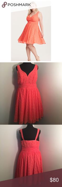 {NEW} TORRID Coral Embroidered Chiffon Dress Coral chiffon fit and flare dress with all over Floral embroidery. Sweetheart neckline. Thick straps. Side zip. Lined with additional tulle underskirts. NWT.  ▪REASONABLE OFFERS WELCOMED or BUNDLE FOR 15% OFF!▪️ torrid Dresses