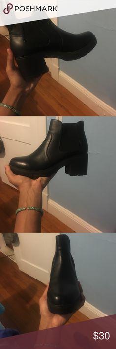 Steve Madden platform boots All black platform ankle boots by Steve Madden Steve Madden Shoes Platforms