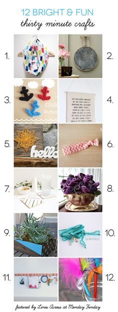 12 Bright and Fun Quick Thirty Minute Crafts to make! | www.settingforfour.com