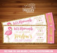 Printable Pink and Gold Flamingo Ticket Birthday Invitation   Pink and Gold Glitter   First Birthday   Baby Shower   Bridal Shower   DIY   Digital File   Girls Birthday Party Idea   Tropical   Hawaiian Party   Beach   FREE thank you card   Party Package Available   Banner   Cupcake Toppers   Favor Tag   Food and Drink Labels   Signs   Candy Bar Wrapper   www.dazzleexpressions.com