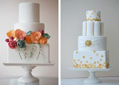 simple white cake + colored accents.