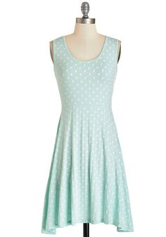 Sweet Spots Dress. Just like you crave a sugary treat at the perfect moment, you also pine for the polka dots of this pastel-aqua tank dress by Kling! #blueNaN