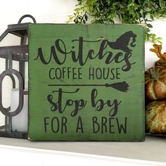 Witches Coffee House Stop By For A Brew/Witch Signs/Halloween Witch Signs/Halloween Decorations Kitchen Decoration halloween kitchen decor Halloween 2018, Fairy Halloween Costumes, Holidays Halloween, Fall Halloween, Halloween Crafts, Halloween Witches, Wooden Halloween Signs, Women Halloween, Halloween Games