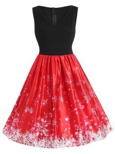 bdbb0acc65b Plus Size Christmas Snowflake Vintage Flare Dress Cute Christmas Outfits