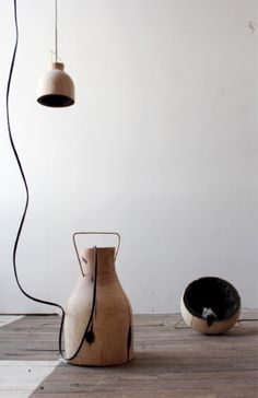 This Fire Within lamp is for those who like natural design – it's an organic wood pendant lamp with a charred interior reminiscent of Japanese shou sugi Lamp Design, Wood Design, Wooden Staff, Hermes, Charred Wood, Wood Pendant Light, Wood Lamps, Interior Lighting, Decoration