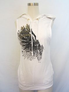 ARMANI EXCHANGE WHITE SLEEVELESS OPEN BACK HOODIE SWEATER WITH GRAPHIC $99.99
