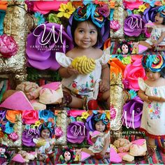 Mila's 1st Birthday fiesta pan dulce smash photo session. Who needs cake when you can have pan dulce =) Photos by Vanessa Medrano Photography on FB. Mexican fiesta photo shoot 1st birthday cinco de mayo