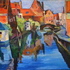 Brugge Canal Painting by Cortney Robson