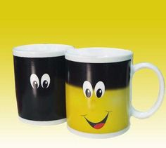 New product Smiley face Magic Color Change Heat Sensitive mug