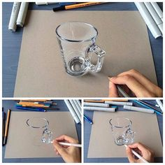 Hyperrealistic anamorphic art (what a mouthful!) by You can head to his feed to see just how realistic this mug is in his video clip! 3d Pencil Drawings, 3d Art Drawing, Drawing Ideas, Drawing Step, Pencil Painting, Color Pencil Art, Painting Art, Body Painting, Amazing Drawings