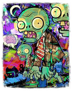 Plants vs. Zombies Collage giclee!  Limited Edition of 200 giclees printed Individually Numbered Sized 18 x 24""