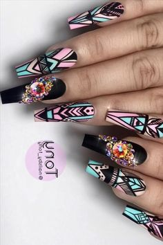 When you see the word cool, you might think of a blue sea, a white sky, or a watermelon on ice. So how do we cool our nails too? Coffin Nails Designs Summer, Blue Nail Designs, Black Acrylic Nails, Best Acrylic Nails, Bling Nails, Swag Nails, Cute Nails, Pretty Nails, Nails Now