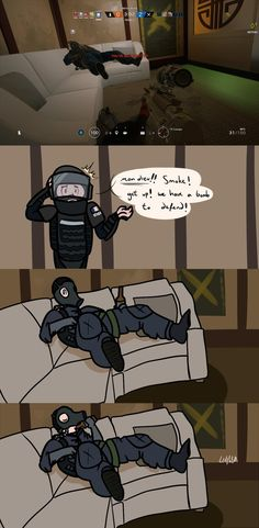 snagged a funny screenshot of Smoke prone on the couch. looked like he was having a much more relaxing round than the rest of us. Rainbow Six Siege and its characters belong to Ubisoft.