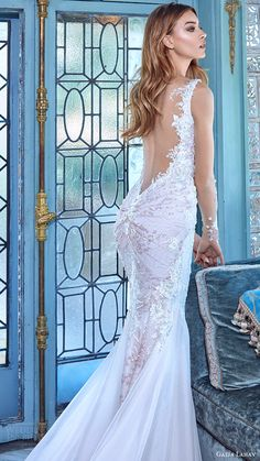 galia lahav bridal spring 2017 illusion long sleeves deep vneck mermaid wedding dress (daria) sv low back train