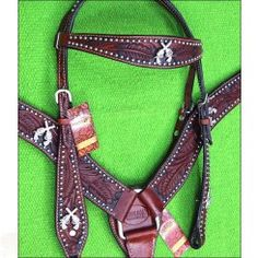 SKU-HILASON-WESTERN-LEATHER-HORSE-HEADSTALL-BRIDLE-BREAST-COLLAR-W/-CROSS-GUN-CONCHO