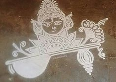 Durga maa by Indumathy garu. Indian Rangoli, Diwali Rangoli, Simple Rangoli, Wedding Mehndi Designs, Mehandi Designs, Alpona Design, Rangoli Borders, Rangoli Ideas, Radha Krishna Wallpaper