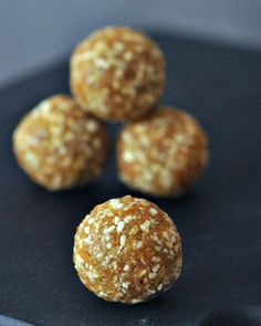 Cardamom Apricot Energy Bites - a super quick and easy three ingredient bite great for snacking, pre and post workout, or covered in chocolate for a decadent treat! Vegan Treats, Vegan Snacks, Healthy Treats, Yummy Snacks, Vegan Food, Food Should Taste Good, Healthy Bars, Vegan Appetizers, Energy Bites