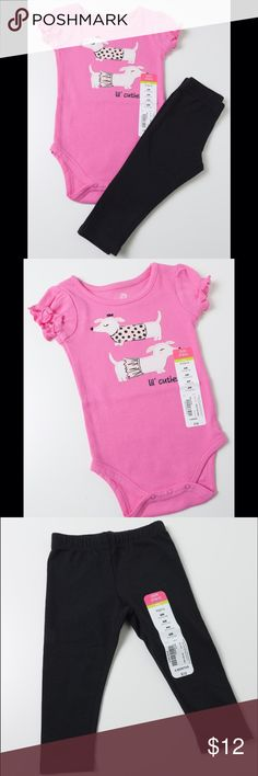 BUNDLE Girls Leggings & Pink Puppy Onesie 6 Mo Both items NWT paired as a set. 6 months. Pink onesie with dogs and plain black leggings. Retail $12 each. okie dokie Matching Sets