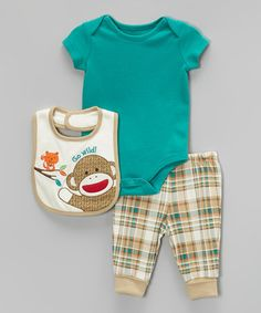 Look what I found on #zulily! Teal & Tan Bodysuit Set - Infant by Sock Monkey #zulilyfinds