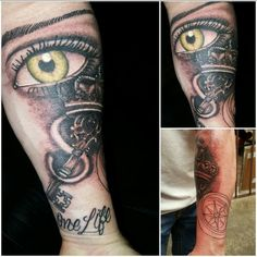 Key, Crown , wifes eye tattoo, Eye, One Life- Began finishing my sleeve. Check out the rest of it just added. Honor thy marriage !
