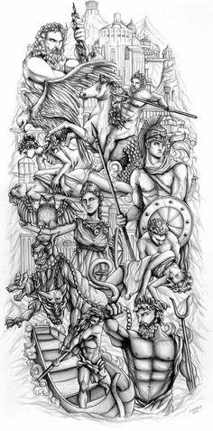 Lion Head Tattoos, God Tattoos, Warrior Tattoos, Feather Tattoos, Body Art Tattoos, Tattoo Ink, Arm Tattoo, Hades Tattoo, Zeus Tattoo