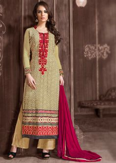 #Georgette #long straight #kameez in beige. This semi- stitched #attire is accompanied with #resham #embroidery, stone and cut work.