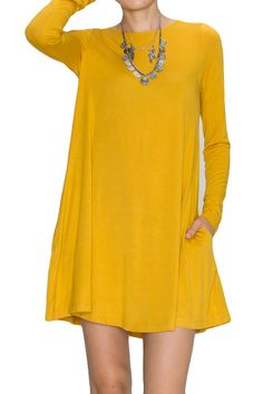 Bamboo fabric long sleeve dress with pockets - mustard Available in sizes S-XL $34.99 www.poshclicks.com