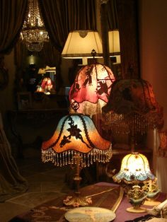 Antique 1920s Boudoir Beaded table lamp with cast iron base. $725.00, via Etsy.