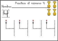 coleccion de fichas Lectoescritura de números el 4  ORIGINALES