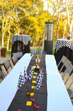 Race Car themed birthday party with Such Cute Ideas via Kara's Party Ideas | Cake, decor, cupcakes, games and more!