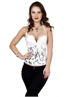26714a935c Satin Halter Neck Strap Corset- White Rs. 2