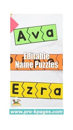 Name Writing Activities, Name Activities Preschool, Preschool Homework, Kindergarten Readiness, Preschool Letters, Learning Letters, Kindergarten Teachers, Preschool Name Recognition, Emergent Curriculum