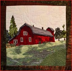 X NFS pattern by Bee Creative satin stitch and raw edge machine applique, machine pieced, domestic machine quilted Small Quilts, Mini Quilts, Paper Piecing Patterns, Quilt Patterns, Landscape Art Quilts, Landscapes, Machine Quilting, Machine Applique, Farm Quilt
