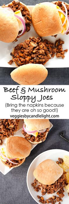 Sassy Beef and Mushroom Sloppy Joes - They might be a mess of a meal napkins required) but they're full of richly flavored beef & mushrooms Candy Recipes, My Recipes, Beef Recipes, Snack Recipes, Favorite Recipes, Sandwich Recipes, Light Recipes, Delicious Recipes, Budget Freezer Meals