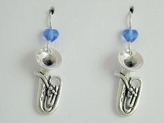 Sterling Silver Tuba dangle earrings-music,marching band, instrument, Tubas