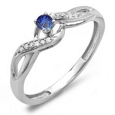 14K White Gold Round Blue Sapphire and White Diamond Crossover Swirl Ladies Bridal Promise Engagement Ring -- For more information, visit now : Promise Rings Jewelry