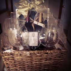 Romantic wine gift basket, add wine charms, openers, bubble bath, cd, candles.