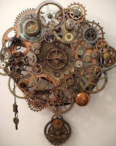 love this clock Steampunk Kunst, Design Steampunk, Mode Steampunk, Steampunk Crafts, Steampunk Clock, Steampunk Fashion, Steampunk Clothing, Fashion Goth, Gothic Steampunk