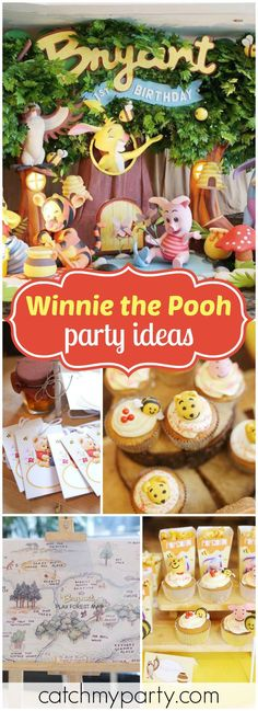 thetruhappiness's Birthday / Winnie the Pooh - today there's sunshine in my soul!winnie the pooh 100 acre woods at Catch My Party Winnie Pooh Torte, Pooh Winnie, Winnie The Pooh Themes, Winne The Pooh, Winnie The Pooh Birthday, Baby's First Birthday Gifts, Boy Birthday Parties, Baby Birthday, Birthday Snacks