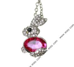 40cm Red Rabbit Crystal Necklace Sweater Chains Jewelry Vintage Charms