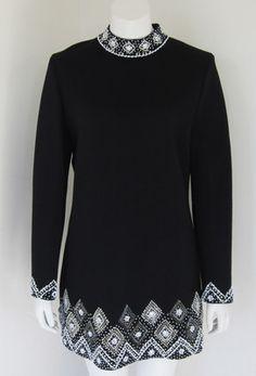 Vintage 60's Clothing Dicosta Black Knit Tunic Dress with Intricate Beadwork   eBay