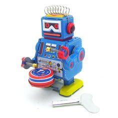 #BangGood - #Eachine1 Classic Vintage Clockwork Wind Up Drum Playing Robot  Reminiscence Children Kids Tin Toys With Key - AdoreWe.com