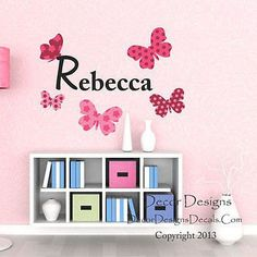 Custom Name Butterflies Printed Fabric Repositionable Wall Decal