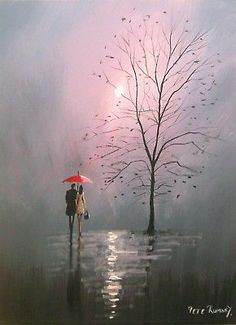 Pete Rumney Art Original Canvas Painting Couple Under Red Umbrella Handpainted Italy Painting, Hand Painting Art, Art Paintings, Rain Illustration, Umbrella Painting, Red Umbrella, Pastel, Art For Sale, Color Splash