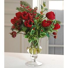 Jane Seymour Botanicals Tulip Holiday Bouquet in Glass Vase Color: Red
